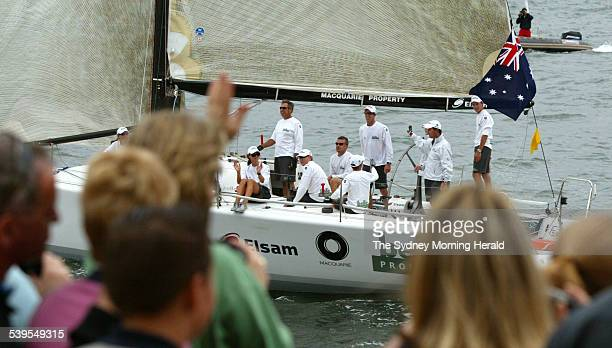 HRH Princess Mary of Denmark on the yacht Belle Property after a match race series against her husband Crown Prince Frederik on Sydney Harbour on...