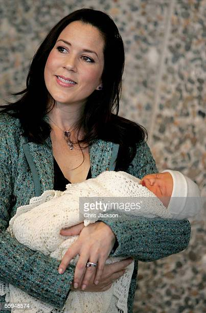 Princess Mary of Denmark poses with her new baby son as they leave Copenhagen University Hospital on October 18, 2005 in Copenhagen, Denmark. The new...