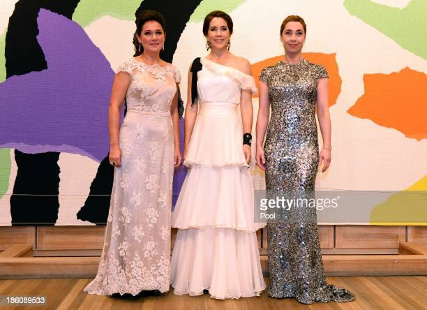 Princess Mary of Denmark poses with winners of the Culture Award actress Sidse Babett Knudsen and actress Sofie Grabol for the television series...