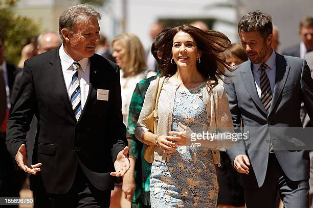 Princess Mary of Denmark shares a joke with John Bertrand prior to the launch of eSmart Homes Digital License an initiative of The Alannah and...