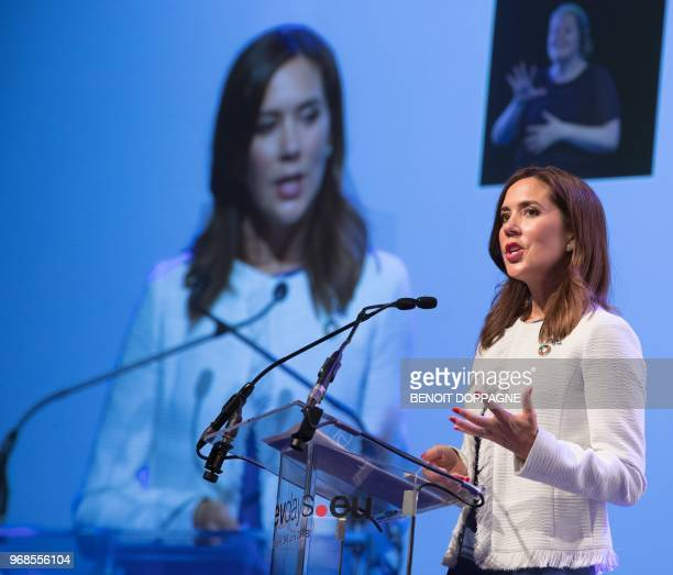 Princess Mary of Denmark speaks as she attends the 'European Development Days' on June 6 at TourTaxis in Brussels / Belgium OUT