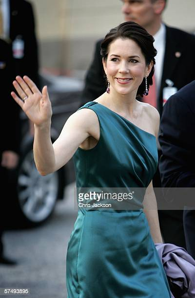 Princess Mary of Denmark waves as she arrives for HM King Carl XVI Gustafs private dinner to celebrate his 60th Birthday at Drottningholm Palace on...