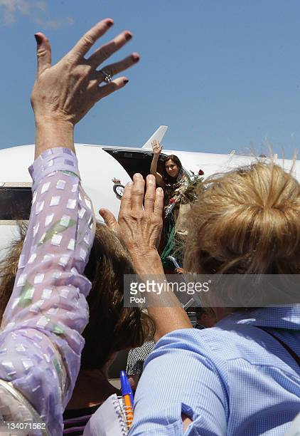 Princess Mary of Denmark waves goodbye after her visit to the Royal Flying Doctor Service Base on November 25 2011 in Broken Hill Australia Princess...