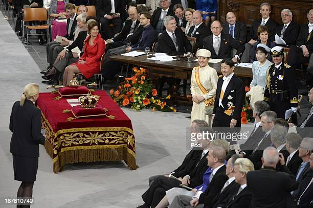 Princess Masako of Japan and Prince Naruhito of Japan attend the inauguration ceremony for King WillemAlexander of the Netherlands at Nieuwe Kerk on...