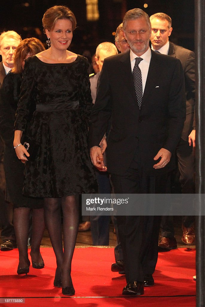 Princess Mathilde and Crown Prince Philippe of Belgium attend a concert for Danish EU Presidency celebration at Flagey on January 26, 2012 in Brussel, Belgium.