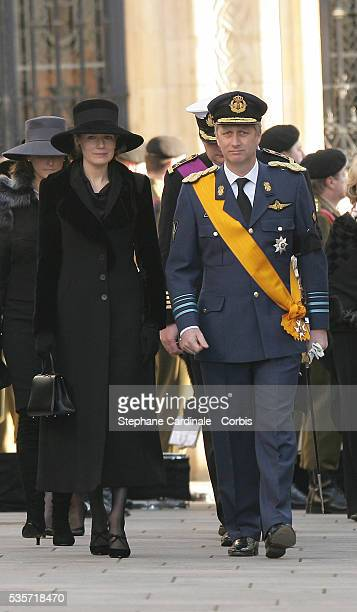 HRH Princess Mathilde and HRH Prince Philippe of Belgium attend the funeral of Grand Duchess of Luxembourg JosephineCharlotte daughter of former...