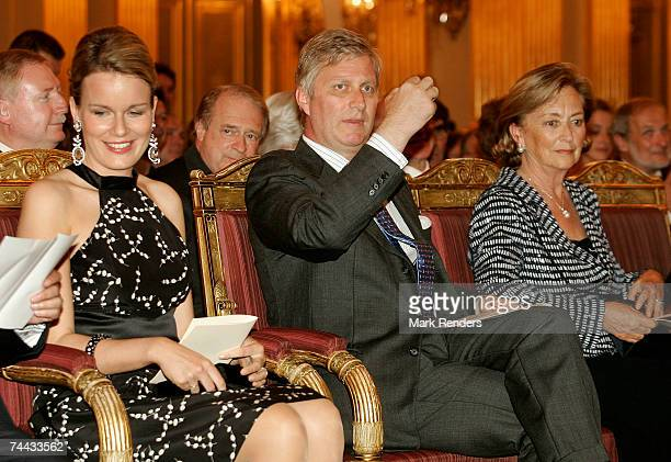 Princess Mathilde and Prince Philippe and Queen Paola of the Belgian Royal family assistat the European Festivals Association Concert at the Royal...