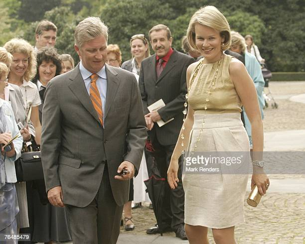 Princess Mathilde and Prince Philippe from Belgium assist a party for Queen Paola's 70th birthday at Laeken Castle on September 02 2007 in the...