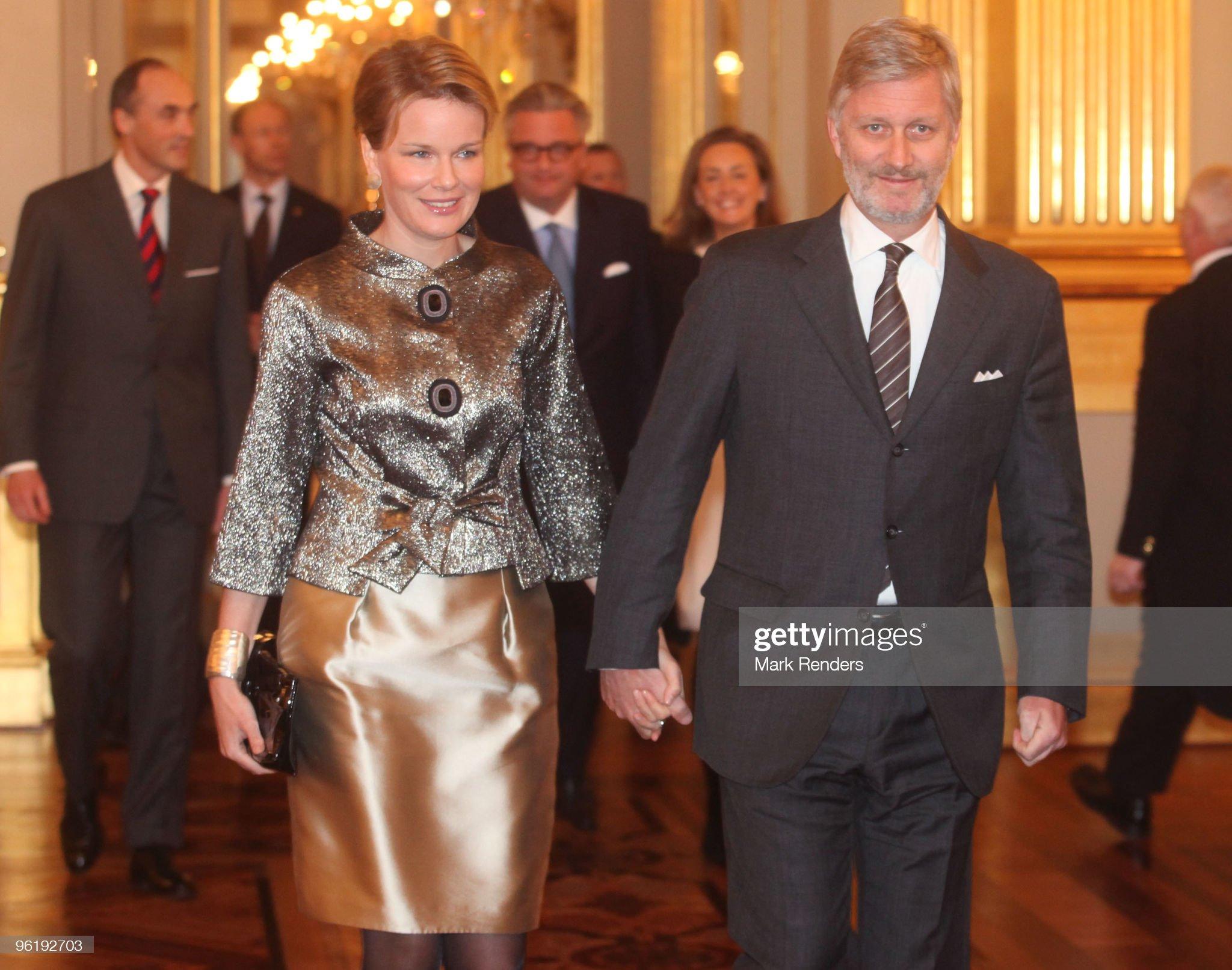 Вечерние наряды Королевы Матильды Belgian Royal Family Hosts New Year Reception : News Photo