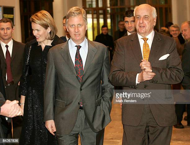 Princess Mathilde and Prince Philippe of Belgium are accompanied by Etienne Davignon during their visit to the Le Sourire de Bouddha exhibition at...