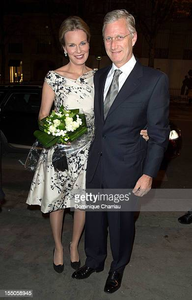Princess Mathilde and Prince Philippe of Belgium arrive for the Liege a Paris concert at Theatre des ChampsElysees on October 31 2012 in Paris France