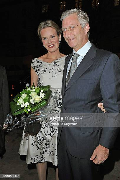 Princess Mathilde and Prince Philippe of Belgium at Theatre des ChampsElysees on October 31 2012 in Paris France