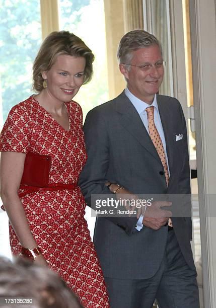 Princess Mathilde and Prince Philippe of Belgium receive members of COMORI at Laeken Castle on July 8, 2013 in Brussels, Belgium.