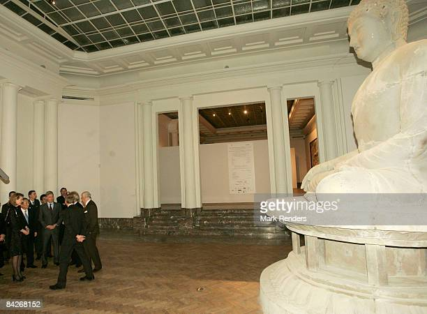 Princess Mathilde and Prince Philippe of Belgium visit Le Sourire de Bouddha exhibition at the Palais des BeauxArts on January 13 2009 in Brussels...
