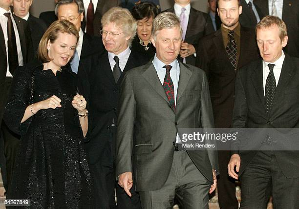 Princess Mathilde and Prince Philippe of Belgium visit the Le Sourire de Bouddha exhibition at the Palais des BeauxArts on January 13 2009 in...
