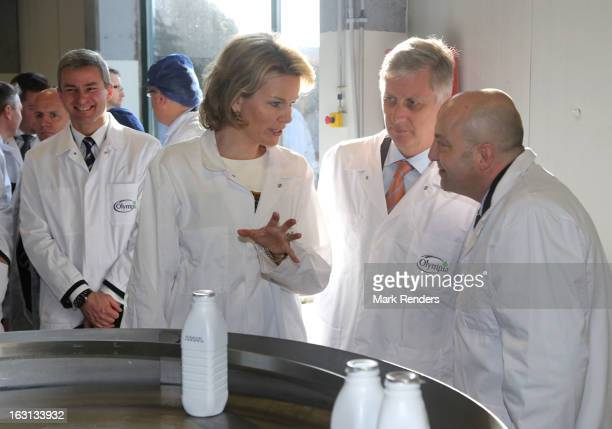 Princess Mathilde and Prince Philippe of Belgium visit the milk products company Olympia at Herfelingen on March 5 2013 in Gooik Belgium
