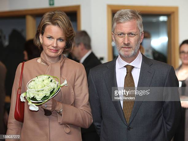 Princess Mathilde and Prince Philippe of Belgium visit the Townhall on November 16 2011 in Neufchateau Belgium