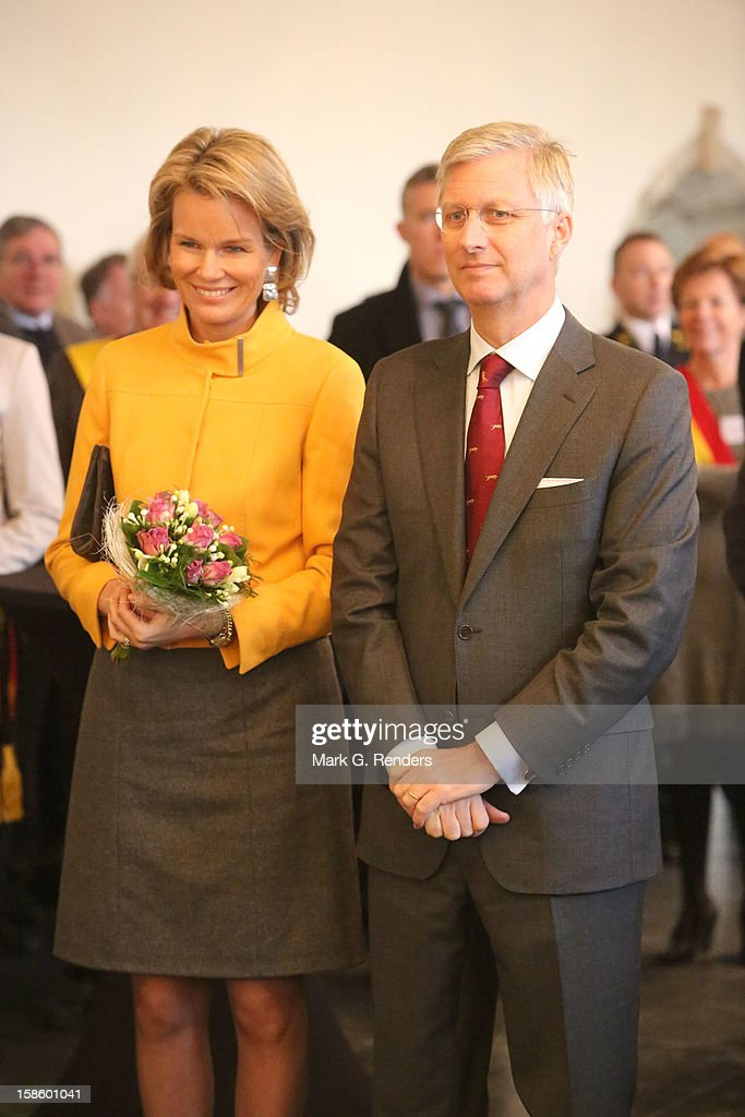Princess Mathilde and Prince Philippe of Belgium visit the Townhall on December 20, 2012 in Jodoigne, Belgium.
