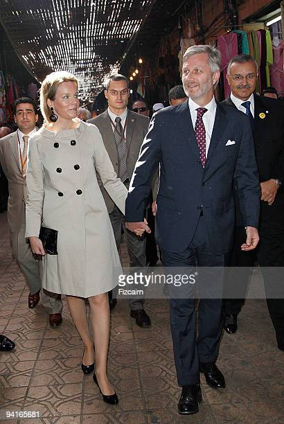 Princess Mathilde and Prince Philippe of Belgium walking in the medina on November 24 2009 in Marrakech Morocco