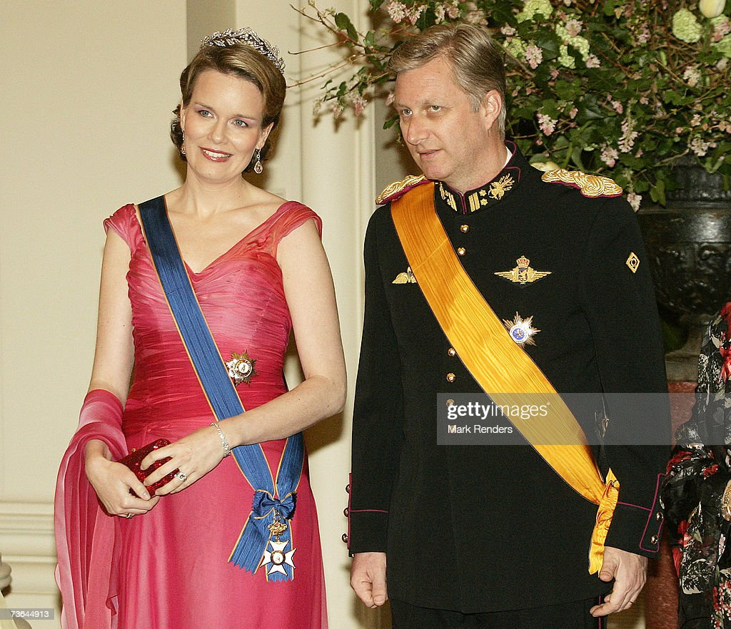 Princess Mathilde and Prince Philippe pose for a photo at Laeken Castle on March 20 , 2007 in Brussels, Belgium. The Grand Duke From Luxembourg and his wife Maria Theresa are in Belgium for a three day during State Visit.