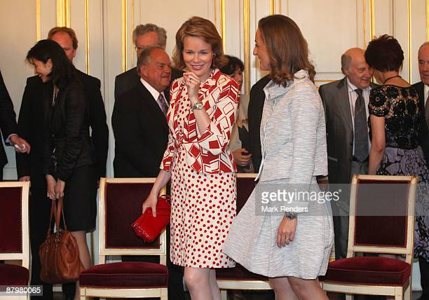 Princess Mathilde and Princess Claire from Belgium attend the Queen Elisabeth International Music Competition of Belgium at the Royal Palace on May...