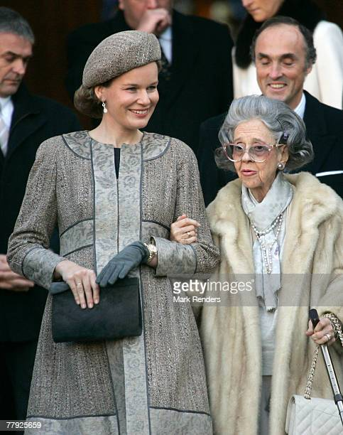 Princess Mathilde and Queen Fabiola leave the Cathedrale St Gdule after attending the Te Deum on Kings Day on November 15 2007 in Brussels Belgium