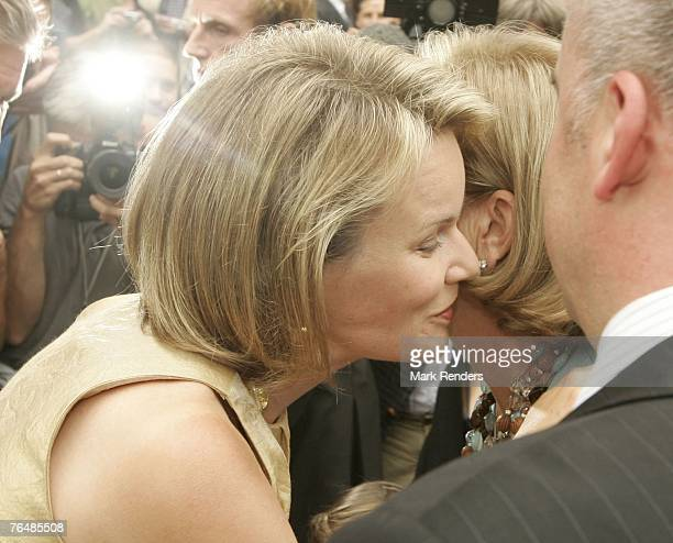 Princess Mathilde and Queen Paola from Belgium assist a party for her 70th birthday at Laeken Castle on September 02 2007 in the Belgian Capital...