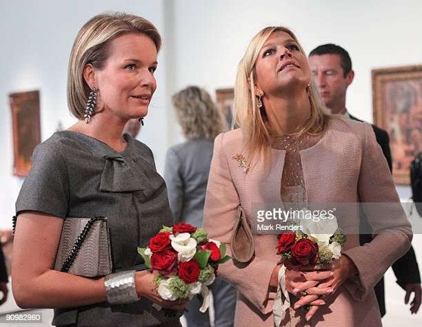 Princess Mathilde from Belgium and Princess Maxima from The Netherlands visit the 'M' Museum on its inauguration day on September 20 2009 in Leuven...