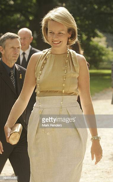 Princess Mathilde from Belgium assists a party for Queen Paola's 70th birthday at Laeken Castle on September 02 2007 in the Belgian Capital Brussels...