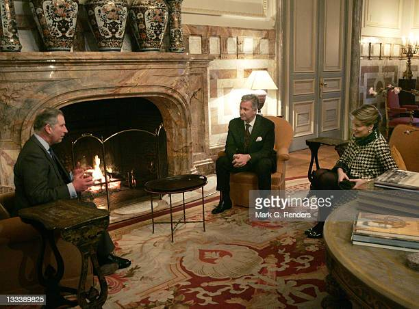 Princess Mathilde From Belgium, the Prince Of Wales and Prince Philippe From Belgium pose for a photo inside Laeken Castle, on February 13, 2008 in...