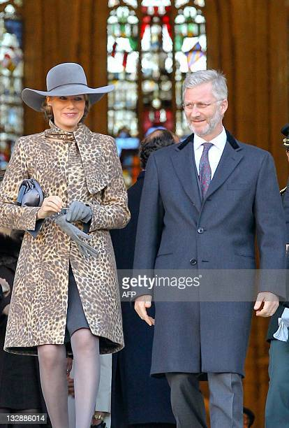 Princess Mathilde of Belgium and Crown Prince Philippe of Belgium are pictured at the Te Deum mass on the occasion of the King's Feast at the Saint...