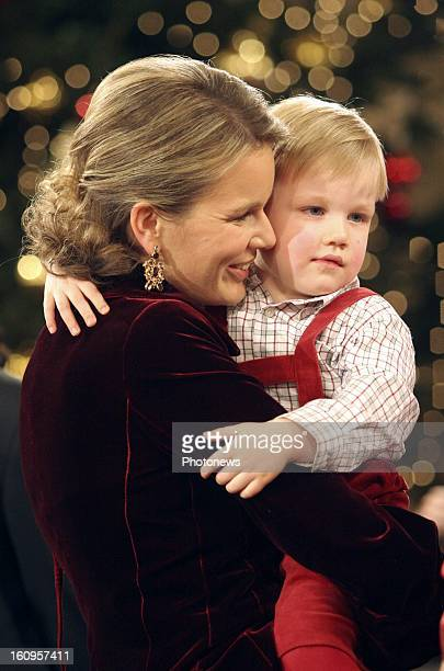 Princess Mathilde of Belgium and Prince Gabriel attends a christmas concert in the Royal Palace.