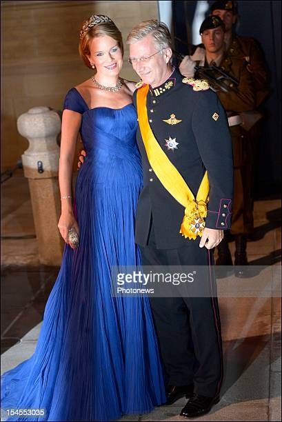 Princess Mathilde of Belgium and Prince Philippe of Belgium arrive at the Gala Dinner for the wedding of Prince Guillaume Of Luxembourg and Stephanie...
