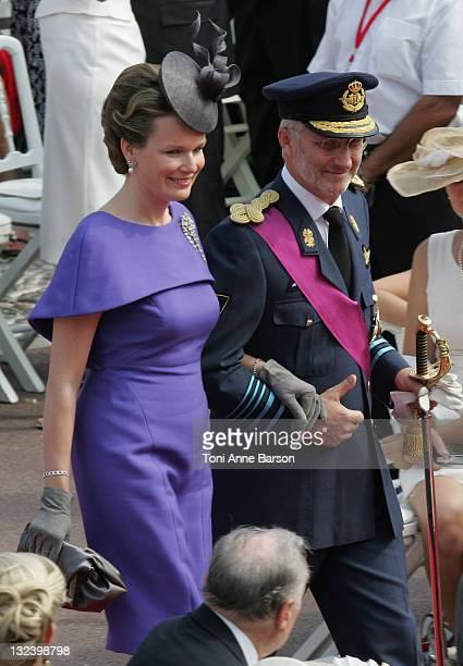 Princess Mathilde of Belgium and Prince Philippe of Belgium attend the religious ceremony of the Royal Wedding of Prince Albert II of Monaco to...