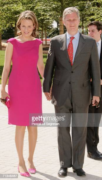 Princess Mathilde of Belgium and Prince Philippe of Belgium pose as they arrive to attend the inauguration of the Grand Duke Jean Modern Art Museum...