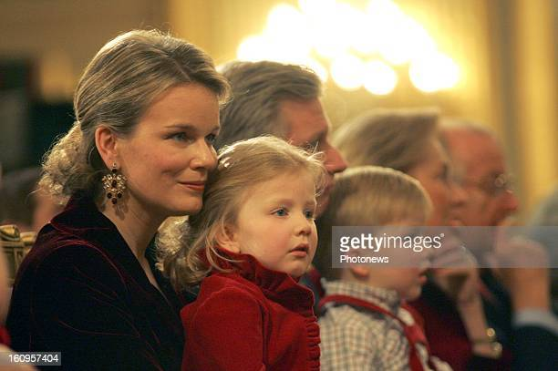 Princess Mathilde of Belgium and Princess Louise attends a christmas concert in the Royal Palace.