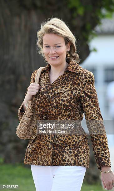 Princess Mathilde of Belgium arrives at the Fredensborg Palace Church for the christening of Princess Mary of Denmark and Prince Frederik of...
