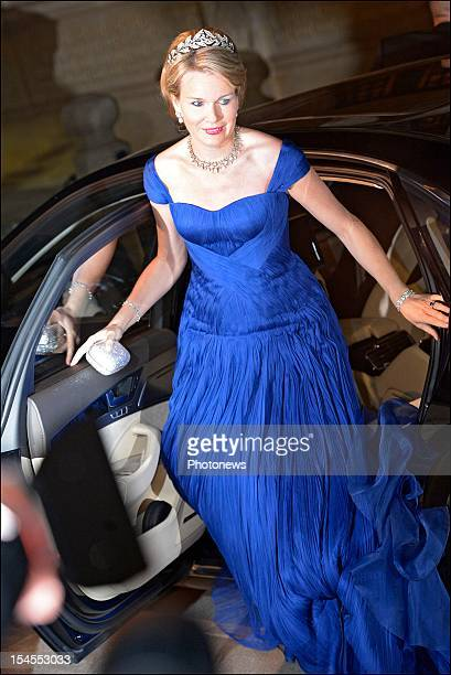 Princess Mathilde of Belgium arrives at the Gala Dinner for the wedding of Prince Guillaume Of Luxembourg and Stephanie de Lannoy at the Hotel De...