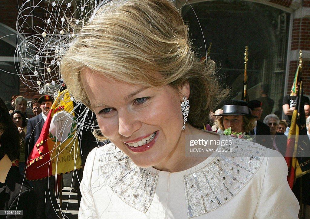 Princess Mathilde of Belgium arrives to... : News Photo