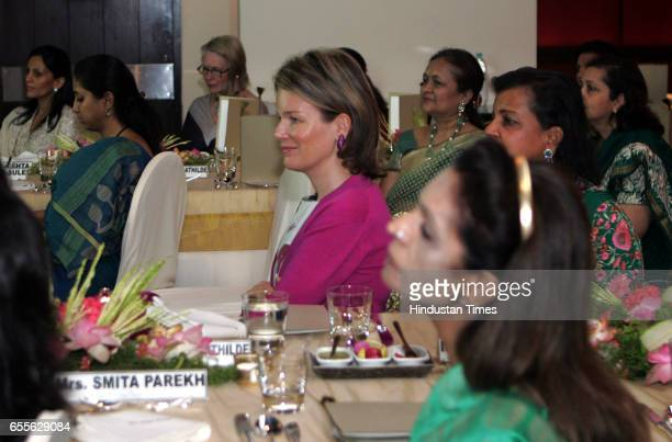 Princess Mathilde of Belgium attends a luncheon organised by the Sahachari Foundation to discuss social issues in Mumbai at the Leela Kempinski Hotel