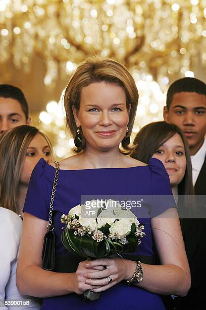 """Princess Mathilde of Belgium attends the 2008 Princess Mathilde Prize ceremony which awarded two Anderlecht's parents network, """"Mijn mama is een..."""