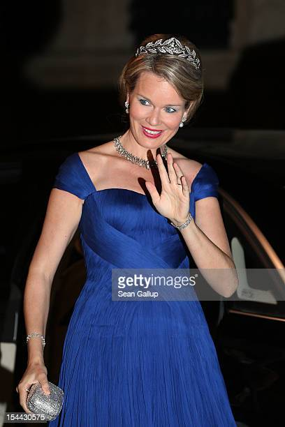 Princess Mathilde of Belgium attends the Gala dinner for the wedding of Prince Guillaume Of Luxembourg and Stephanie de Lannoy at the Grand-ducal...