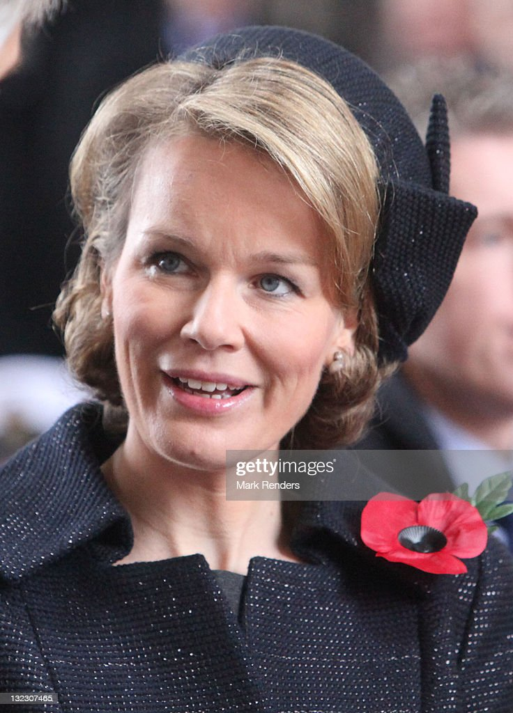 Princess Mathilde Of Belgium Attends Last Post Ceremony On Armistice Day : News Photo
