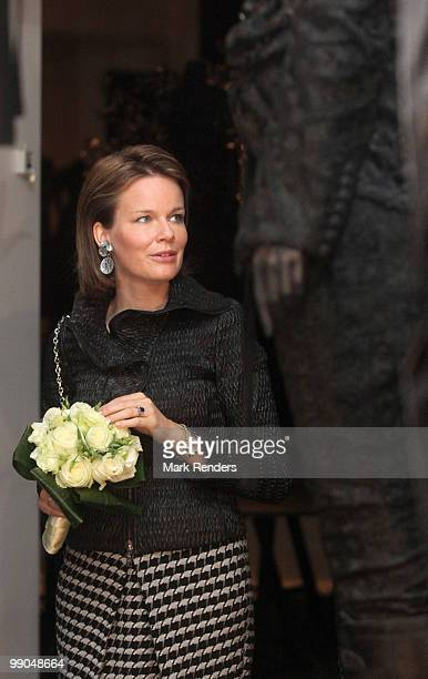 Princess Mathilde of Belgium attends the 'Masters of black in fashion and costume' exhibition on May 12 2010 in Antwerpen Belgium