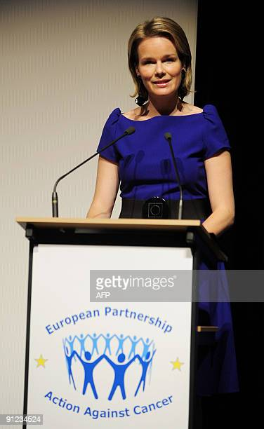 Princess Mathilde of Belgium delivers a speech at the launch of a European partnership for action against cancer in Brussels on September 29 2009 AFP...