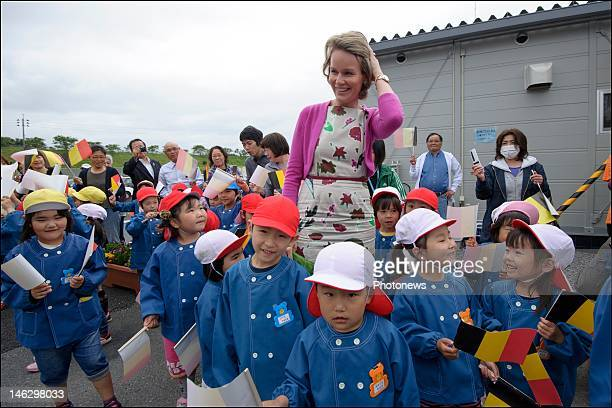 Princess Mathilde of Belgium during a visit to the Himamari community temporary housing unit for victims of the tsunami on June 13 2012 in Sendai...
