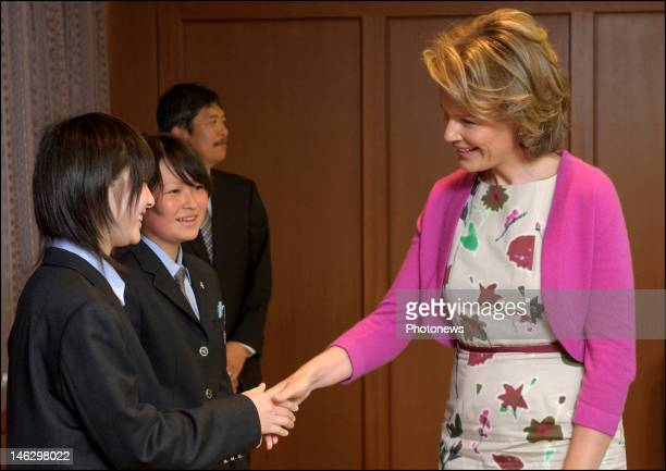 Princess Mathilde of Belgium during her visit of the city of Sendai where she met local students who are taking part in the project 'Building...