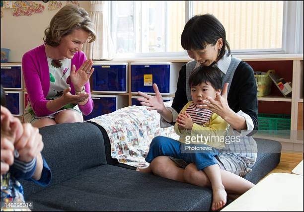 Princess Mathilde of Belgium during her visit to the Lasalle Home orphenage on June 13 2012 in Sendai Miyagi Prefecture Japan Prince Philippe and...