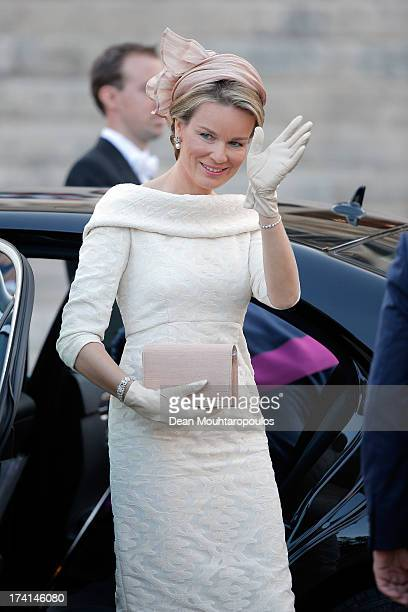 Princess Mathilde of Belgium is seen in front of the Cathedral of St Michael and Saint Gudula prior to the Abdication Of King Albert II Of Belgium...