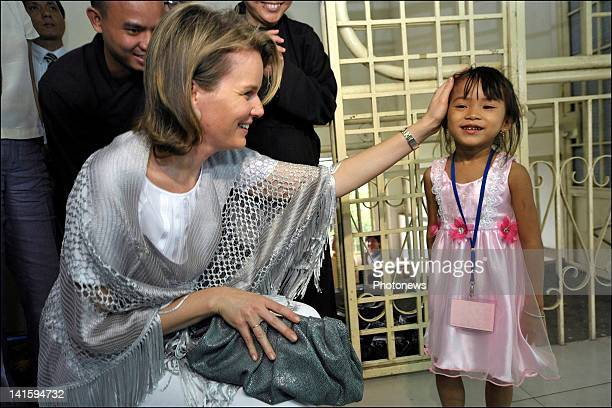 Princess Mathilde of Belgium meets children and officials during her visit to the Pagoda Buddhist center during a Belgian economic mission to Vietnam...